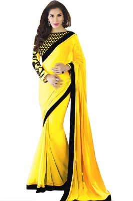 Radhecreation Solid Bollywood Handloom Georgette Sari