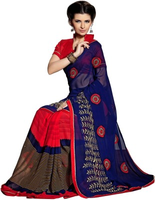 Dharmee Creations Embriodered Fashion Georgette Sari