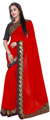 sivermoonfashion Plain Fashion Georgette Sari