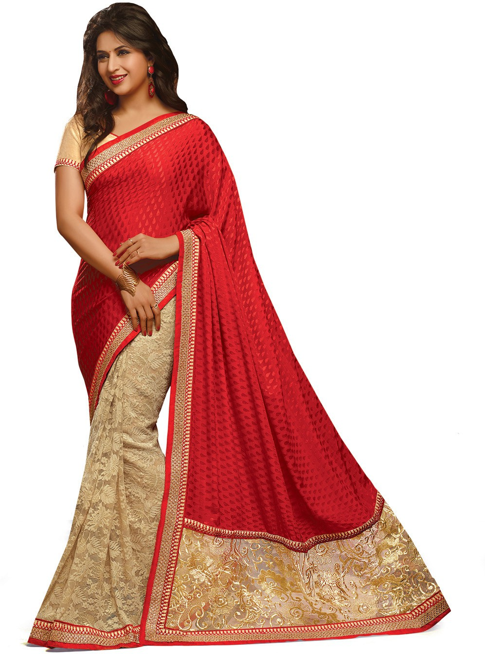 Indianbeauty Self Design, Embroidered Bollywood Jacquard, Pure Georgette Sari(Red, Beige)
