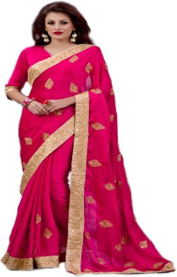 Jambudi Creation Embriodered Fashion Satin, Pure Chiffon Sari