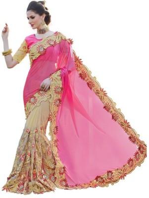 COLOURTRENDZ Embriodered Fashion Net Sari