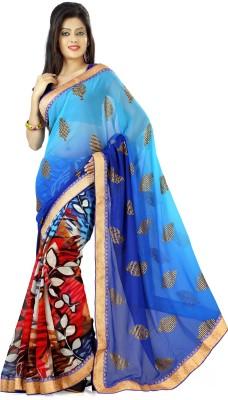 nimi fashion Embriodered, Solid, Self Design Fashion Jacquard, Synthetic Georgette Sari