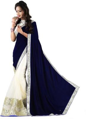 SJTrendz Self Design Fashion Velvet, Net Sari