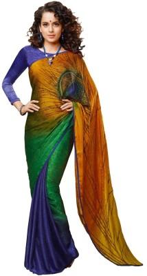 Lime Graphic Print Chanderi Handloom Chanderi Sari