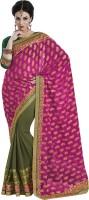 Melluha Embroidered Fashion Georgette Sari(Green)