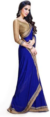 Hanscreation Plain Daily Wear Georgette Sari