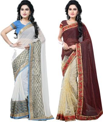 SNV Fashion Embriodered, Embellished Fashion Chiffon, Lycra, Net Sari