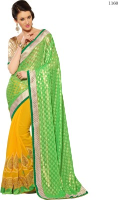 Allol Embriodered Fashion Synthetic Crepe, Chiffon Sari