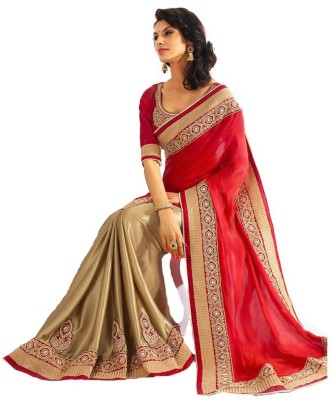 Vivels Solid, Embriodered Bollywood Georgette Sari