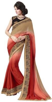 DesiButik Embriodered Fashion Satin, Silk Sari
