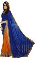 AKSH FASHION Embriodered Bollywood Georgette, Raw Silk Sari
