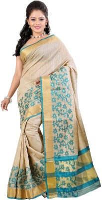 Needle Impression Self Design Daily Wear Handloom Polycotton Sari(Green)