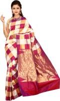 Indian Silks Checkered Kanjivaram Handloom Pure Silk Sari(Pink)