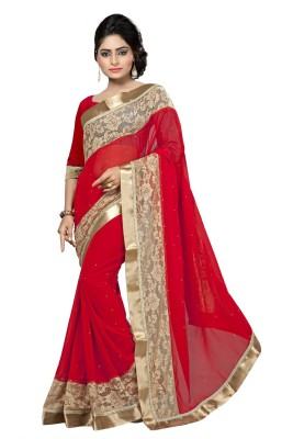 SHREE OM VALLABH Embriodered Bollywood Georgette Sari