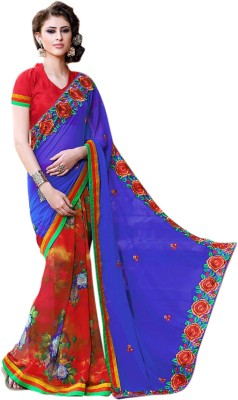 Style Merger Embriodered, Floral Print Daily Wear Georgette Sari