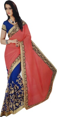 NEW LOOK DESINER Embriodered Bollywood Synthetic Sari