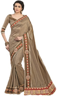 RG DESIGNERS Embriodered Fashion Satin Sari