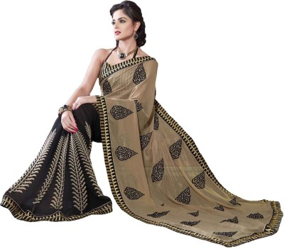 Queenbee Self Design, Embriodered Fashion Georgette Sari
