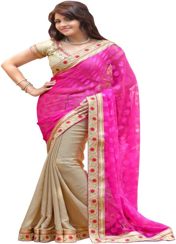 Khantil Printed Fashion Chiffon Saree(Pink)
