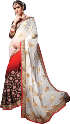 Manvaa Embroidered Fashion Jacquard, Georgette Saree(Multicolor) at flipkart