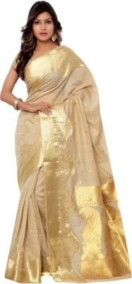 Varkala Silk Sarees Woven Kanjivaram Saree(Beige) at flipkart