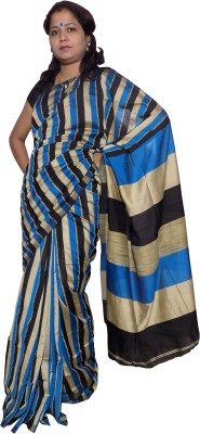 KheyaliBoutique Striped Phulia Handloom Silk Linen Blend Sari