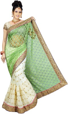Aashvi Creation Embroidered Fashion Brasso Saree(Light Green) at flipkart