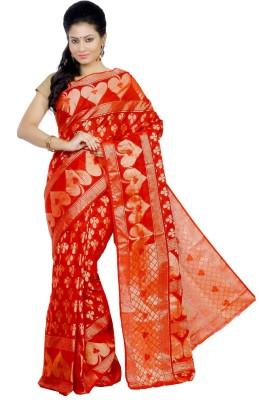 Crochetin Self Design Fashion Cotton Sari