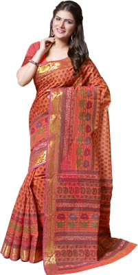 M.S.Retail Printed Gadwal Cotton Saree(Orange) at flipkart
