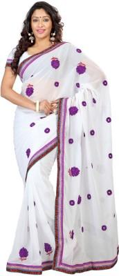Sanskar Fashion Self Design Fashion Chiffon Sari(White) at flipkart