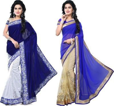 SNV Fashion Embriodered, Embellished Fashion Velvet, Brasso, Chiffon, Net Sari