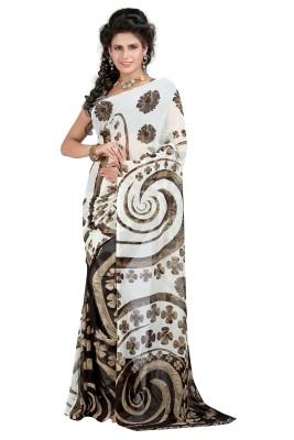 SareeBazaar Printed, Floral Print Daily Wear Georgette Sari