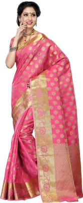 Mimosa Woven Kanjivaram Tussar Silk Saree(Pink) at flipkart