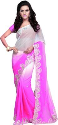 Aruna Sarees Embroidered Fashion Handloom Chiffon Sari(Pink, White)
