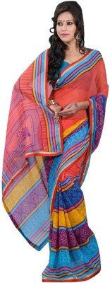 Fashiondodo Self Design Fashion Chiffon Sari