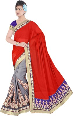 Dkcreation Embriodered Fashion Pure Chiffon Sari