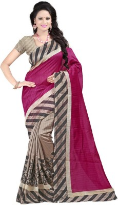 Shreet fashion Striped, Graphic Print Bhagalpuri Art Silk Sari