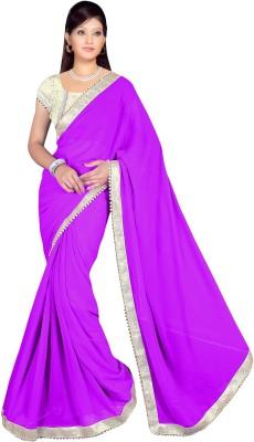 Lauren Creation Plain Daily Wear Georgette Sari
