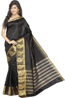 Rani Saahiba Woven Fashion Tussar Silk Sari(Black)