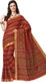 Suhanee Printed Gadwal Cotton Saree (Ora...