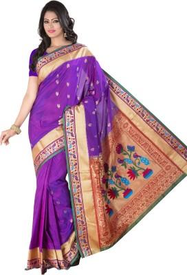 M.S.Retail Self Design Paithani Silk Saree(Purple) at flipkart