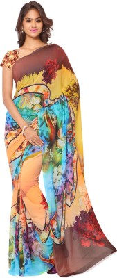 Ligalz Digital Prints Daily Wear Chiffon Sari