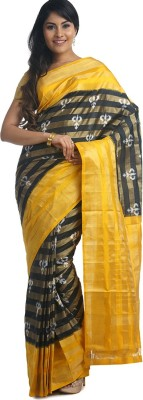 BlackBeauty Woven Pochampally Handloom Pure Silk Saree(Black, Yellow) at flipkart