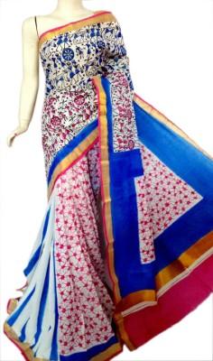 MCLS FASHION Floral Print, Hand Painted Fashion Cotton Sari
