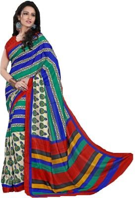 AJS Printed, Striped Fashion Art Silk Sari