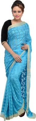 The Phulkari Self Design Phulkari Chiffon Sari