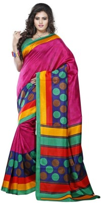 Cutie Fashion Floral Print Fashion Art Silk Sari