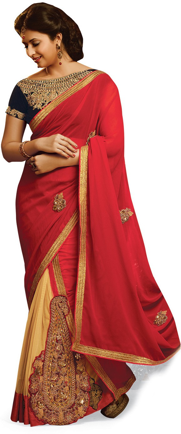 Indianbeauty Self Design, Printed Bollywood Pure Georgette, Net Saree(Red, Beige)