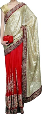 Dertaste Embellished Fashion Net, Georgette Sari